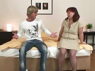 Boy Fucks Old Grand-ma In Stockings