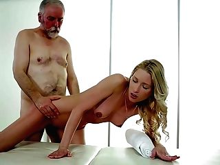 Frolic Blonde Is Going An Extra Mile And Fucking Her Elderly Customer Instead Of Doing A Rubdown