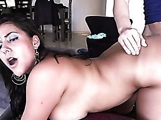 Chubby Dark-haired Hoe Juliana Gets Her Soaking Yoni Poked In Rear End Style