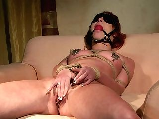 Feisty Red-haired Bitch Is Sucking Dick Deepthroat While Tied Up. Sadism & Masochism