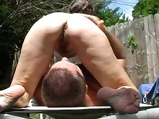 Hairy Florida Matures Face Sitting Outside