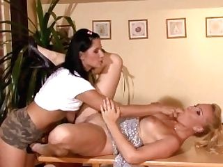 Chick Fucks His Blonde Lezzie Mom